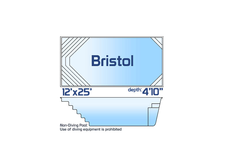 bristol small inground fiberglass swimming pool