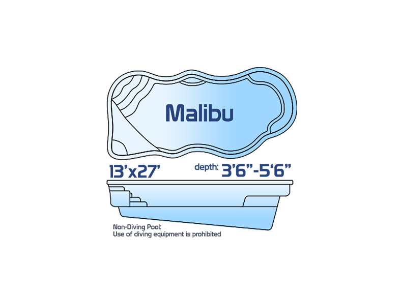 Malibu medium inground fiberglass swimming pool