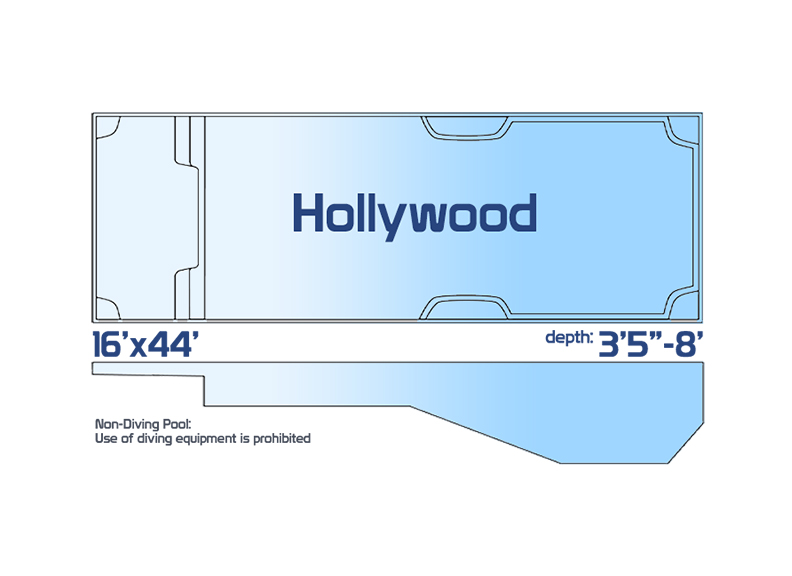 hollywood large inground fiberglass swimming pool