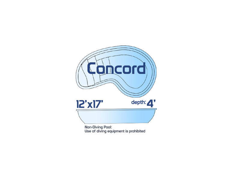 Concord small inground fiberglass swimming pool