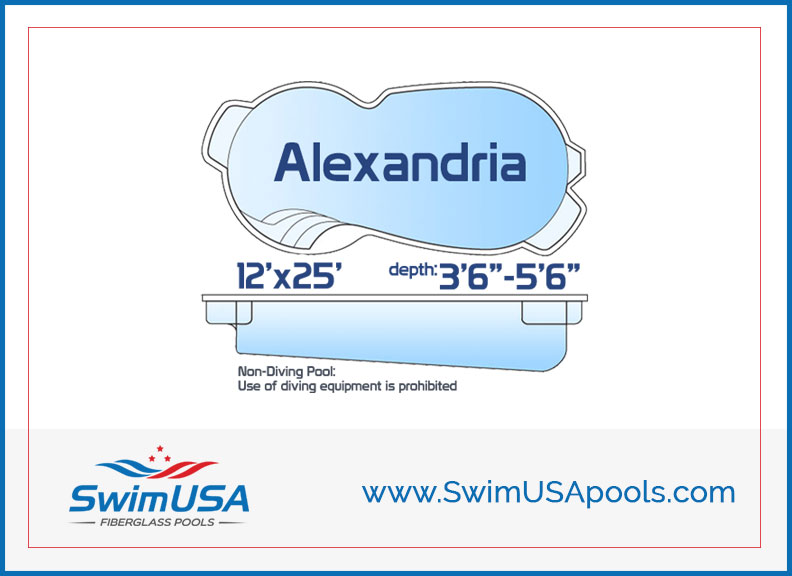 SwimUSA Pools Alexandria Small inground free form fiberglass swimming pool