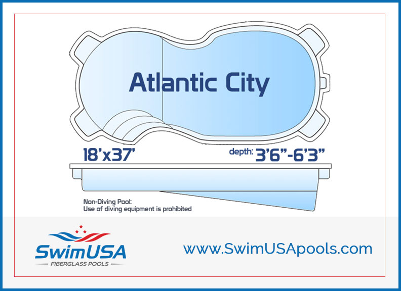 SwimUSA Fiberglass Pools Atlantic City Jumbo inground free form fiberglass swimming pool