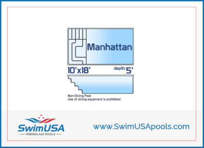 Swim USA Pools Small inground fiberglass swimming pool Manhattan Rectangle