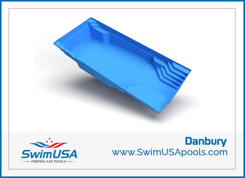 3D danbury fiberglass swimming pool large rectangle